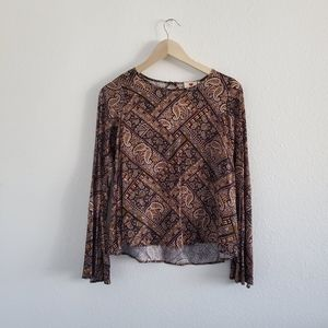 One Clothing Bell Sleeved Paisley Print Blouse